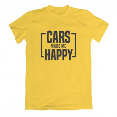 Cars Make Me Happy T-krekls Dzeltens